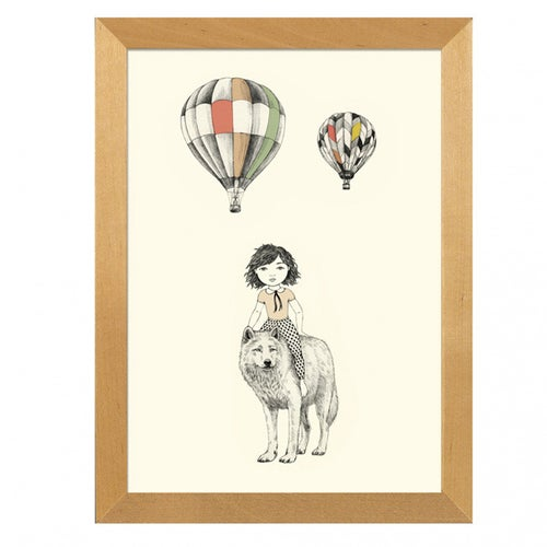 Image of Affiche A4 Fille et Loup