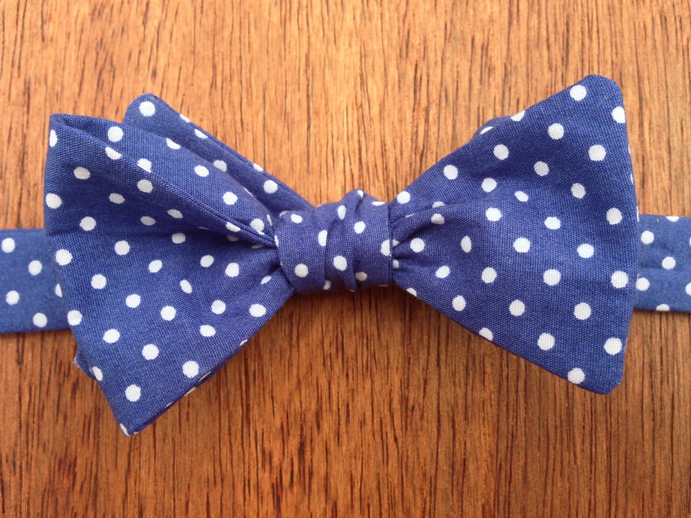 Image of Royal Blue Spotted Print Self-Tie Handmade Bowtie