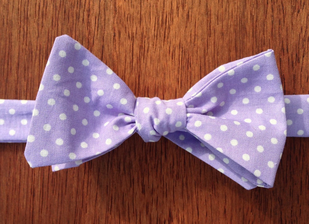Image of Purple Spotted Print Self-Tie Handmade Bowtie