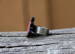 Image of Personalized Wood Name Ring - Leaf