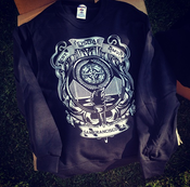 """Image of Five Characters In Search of an Exit """"SF Crest"""" Crewneck Sweatshirt"""