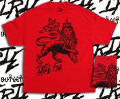 Image of IRIE NATION IRIE.FM LION OF JUDAH IN RED, GOLD GREEN T-SHIRT