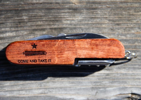 Image of Personalized Wood Texas Army Knife