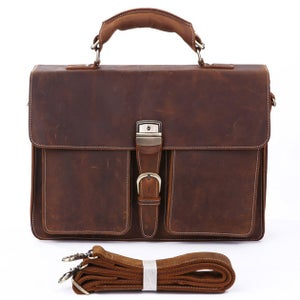"Image of Men's Handmade Vintage Leather Briefcase / Messenger / 14"" 15"" Laptop 15"" MacBook Bag (n47)"