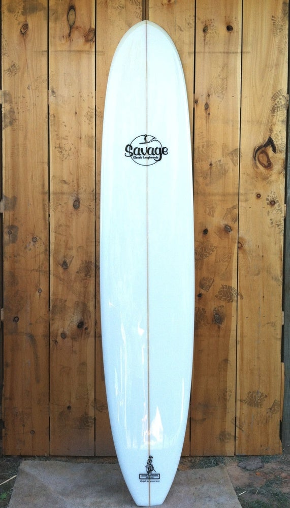 """Image of 9'6"""" Longboard with triple fin boxes"""