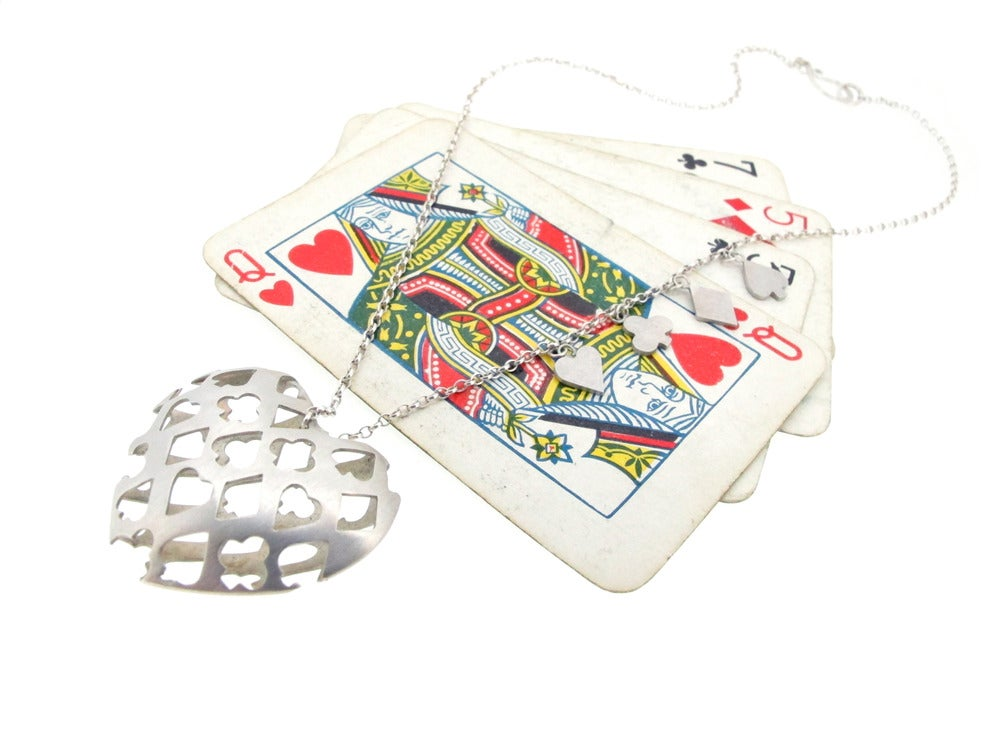 Image of Wonderland Playing card suit heart necklace