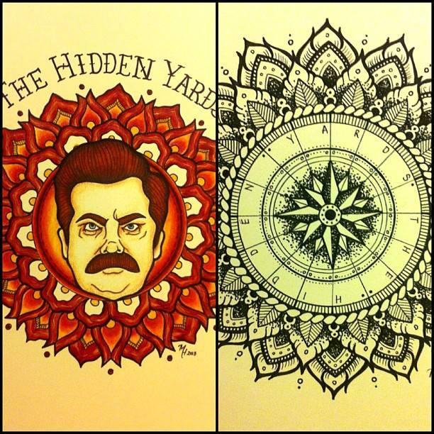 Image of Ron Swanson/ Mandala Prints