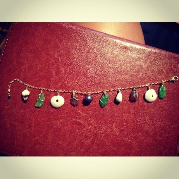 Image of Puka Shell and Sea Glass Charm Bracelet