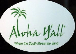 "Image of 4x6 Round Decals ""where the south meets the sand"""