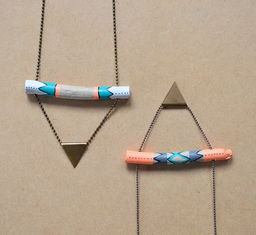 Image of Hand painted pattern driftwood & copper triangle Necklace   NZ dlls