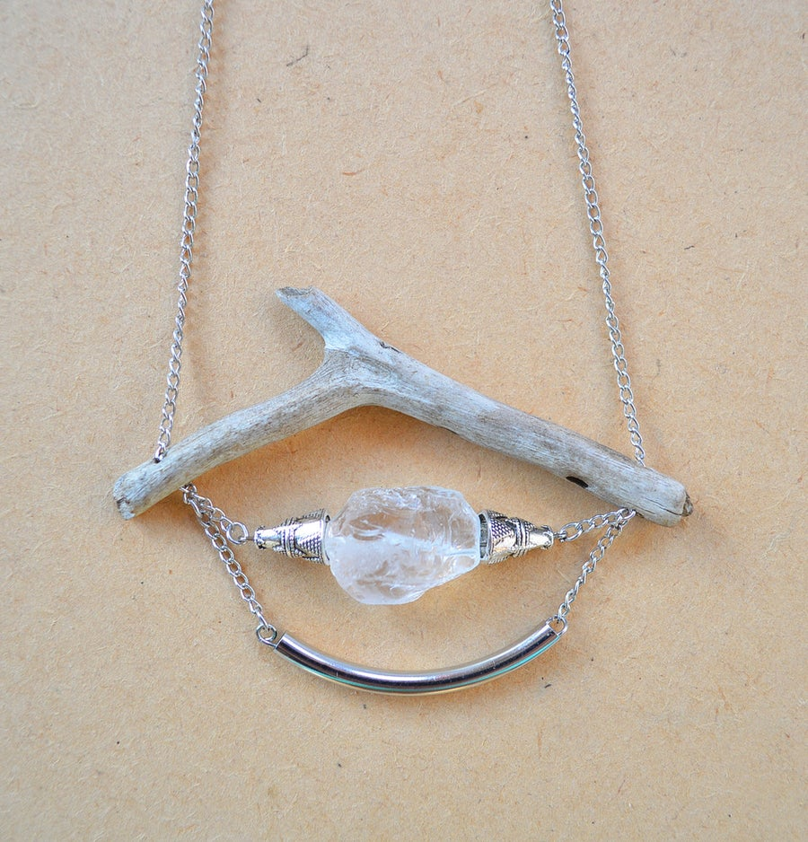 Image of Driftwood & Raw Mineral Necklace lll