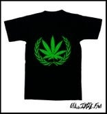 Image of IRIE NATION TOP SHELF WEEDILLAC GREEN LOGO ON BLACK T-SHIRT