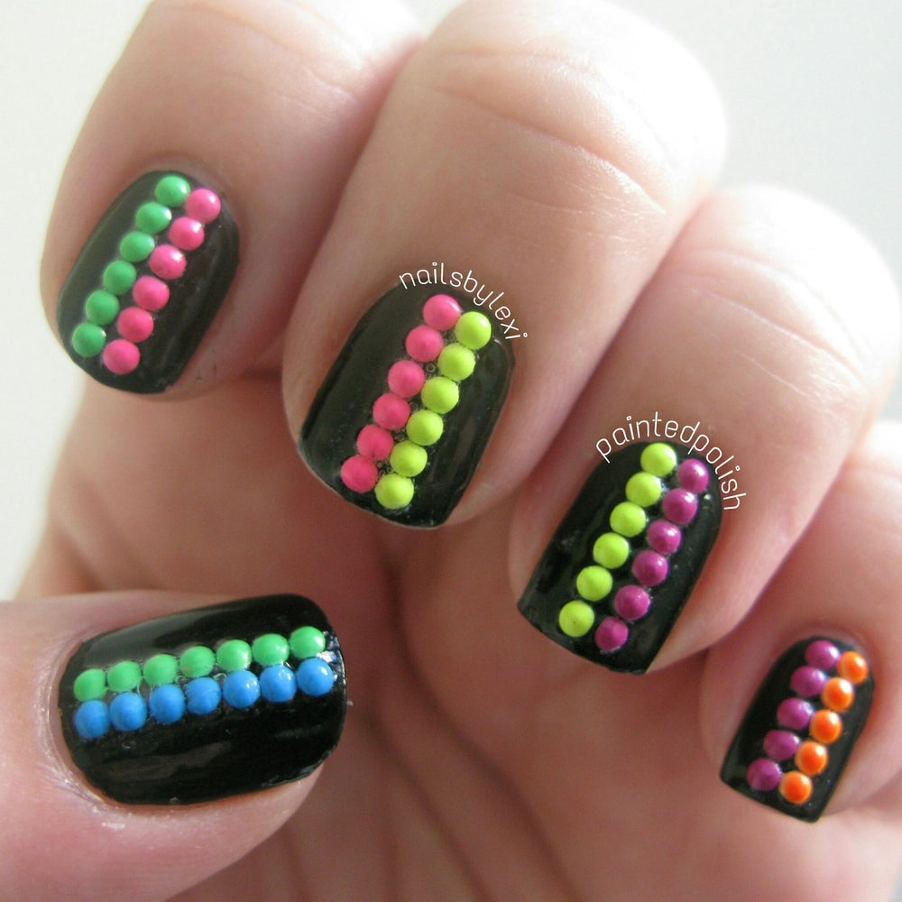 Image of Mixed Neon Studs - Round/Button