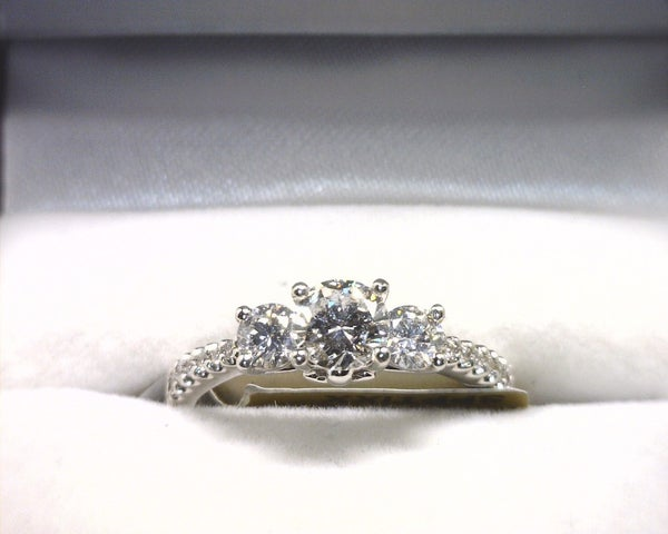 Image of 14K White Gold Diamond Engagement Ring (.47CT Round Center)