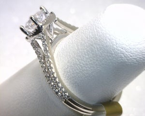 Image of 14K White Gold Diamond Engagement Ring (.51CT Radiant Center)