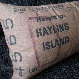Image of Hayling Billy train ticket cushion