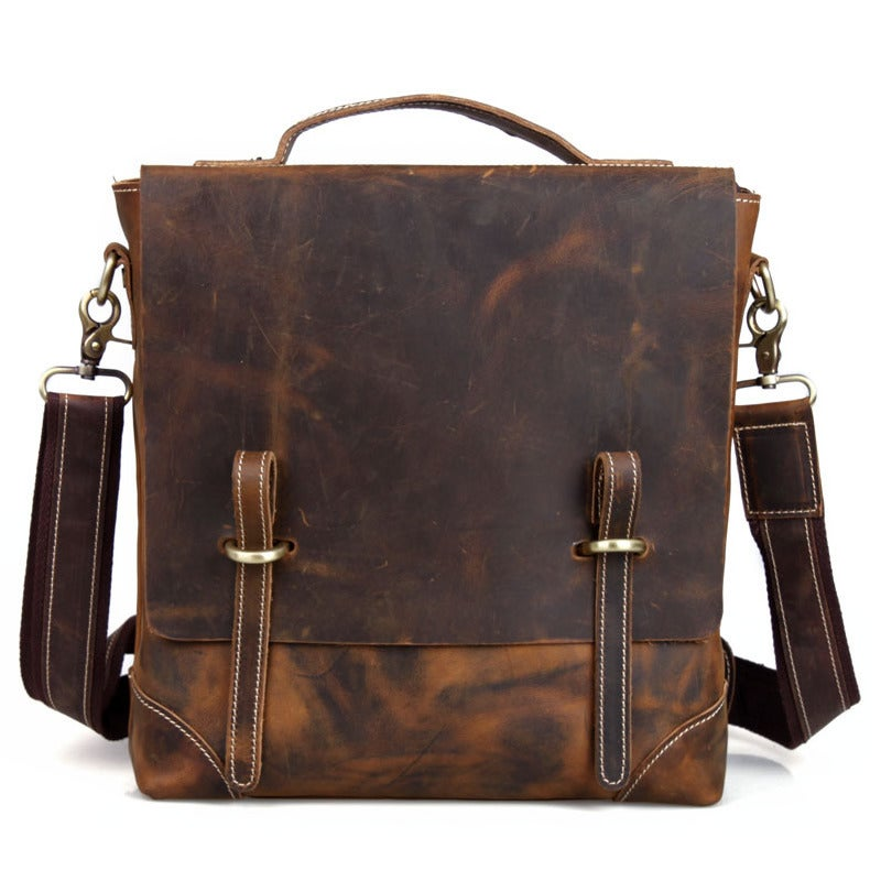 Image of Vintage Handmade Crazy Horse Leather Vertical Briefcase / Messenger Satchel / iPad Bag (n48)