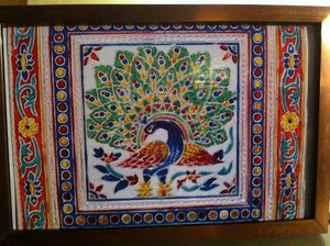 Image of Peacock Indian Folk Art Postcard with Frame - Exotic Elegant & Chic Eternity Gift