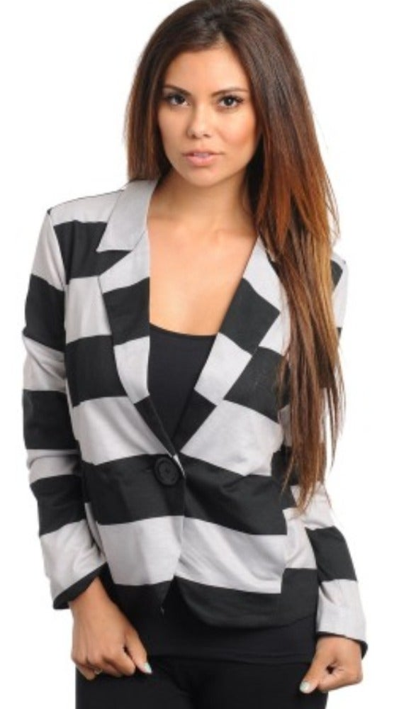 Image of Grey/Black striped blazer