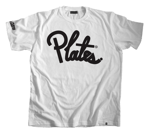 Image of Plate Cursive Tee: Black/ White