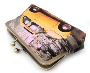 Image of Yellow Fiat car clutch bag