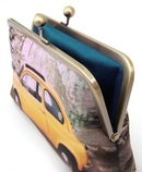 Image of Yellow Fiat car clutch bag, silk purse with silk lining
