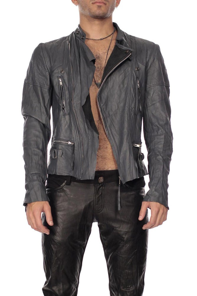 Image of Grey Leather Biker Jacket