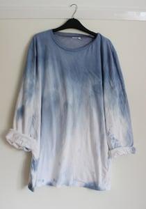 Image of Blue Tie Dye/Dip Dye Ombre Long Sleeved Shirt