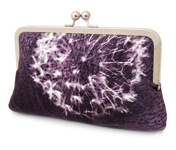 Image of Purple dandelion clocks clutch bag