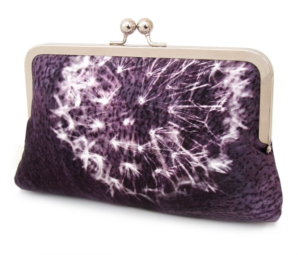 Image of Purple dandelion clocks clutch bag, silk purse