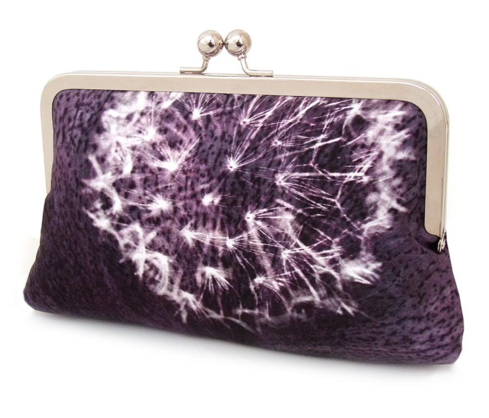 Image of Purple dandelion clocks clutch bag, silk purse