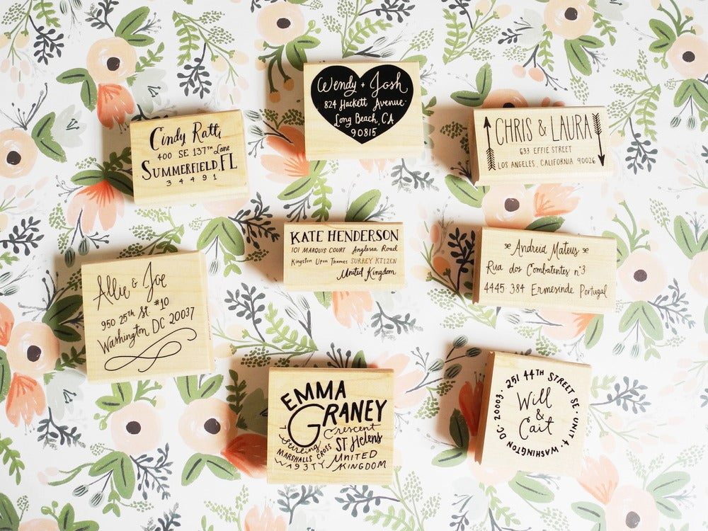 Image of Custom Hand Lettered Return Address Stamp
