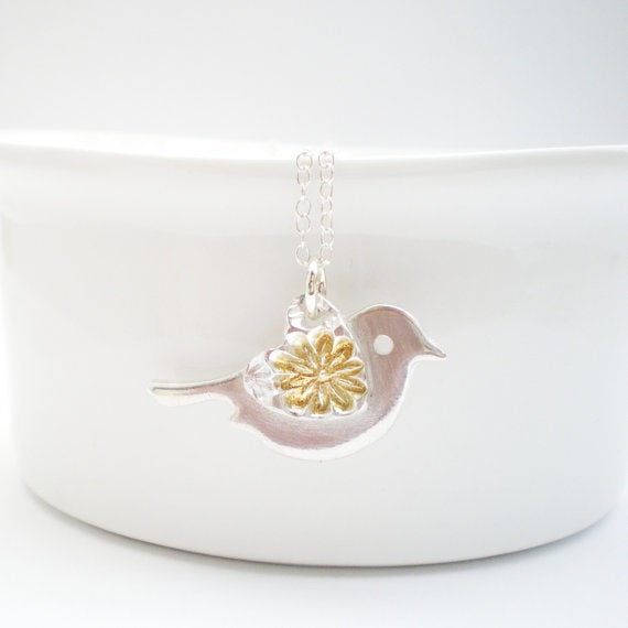 Alibalijewellery silver and gold flower love bird pendant silver and gold flower love bird pendant mozeypictures Gallery