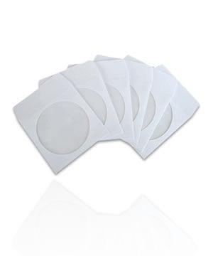 Image of 50 Pochettes papier blanches pour CD / DVD [rabat encoche]