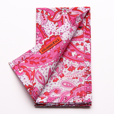 Image of Handkerchief - pale grey with hot pink paisley