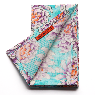 Image of Handkerchief - pale aqua with large flowers