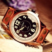 Image of Mens Handmade Leather Wrist Watch / Antique Quartz Watches (WAT0002-BLACK)