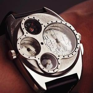 Image of Handmade Retro Leather Wrist Watch / Steampunk Mechanical Man Wrist Watch (WAT0097-WHITE)