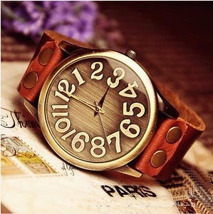 Image of Men's Handmade Antique Leather Wrist Watch / Brass Mirror Watches (WAT0022)