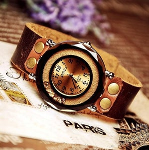 Image of Handmade Vintage Luxury Set Auger Leather Women's Wrist Quartz watch (WAT0028)