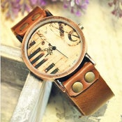Image of Vintage Mad Cow Leather Watch / Women's Or Girl's Handmade Wrist Watch (WAT024)