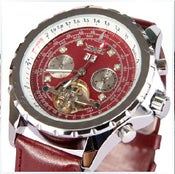 Image of Men's the tourbillon calendar automatic leather mechanical watch (WAT0045)