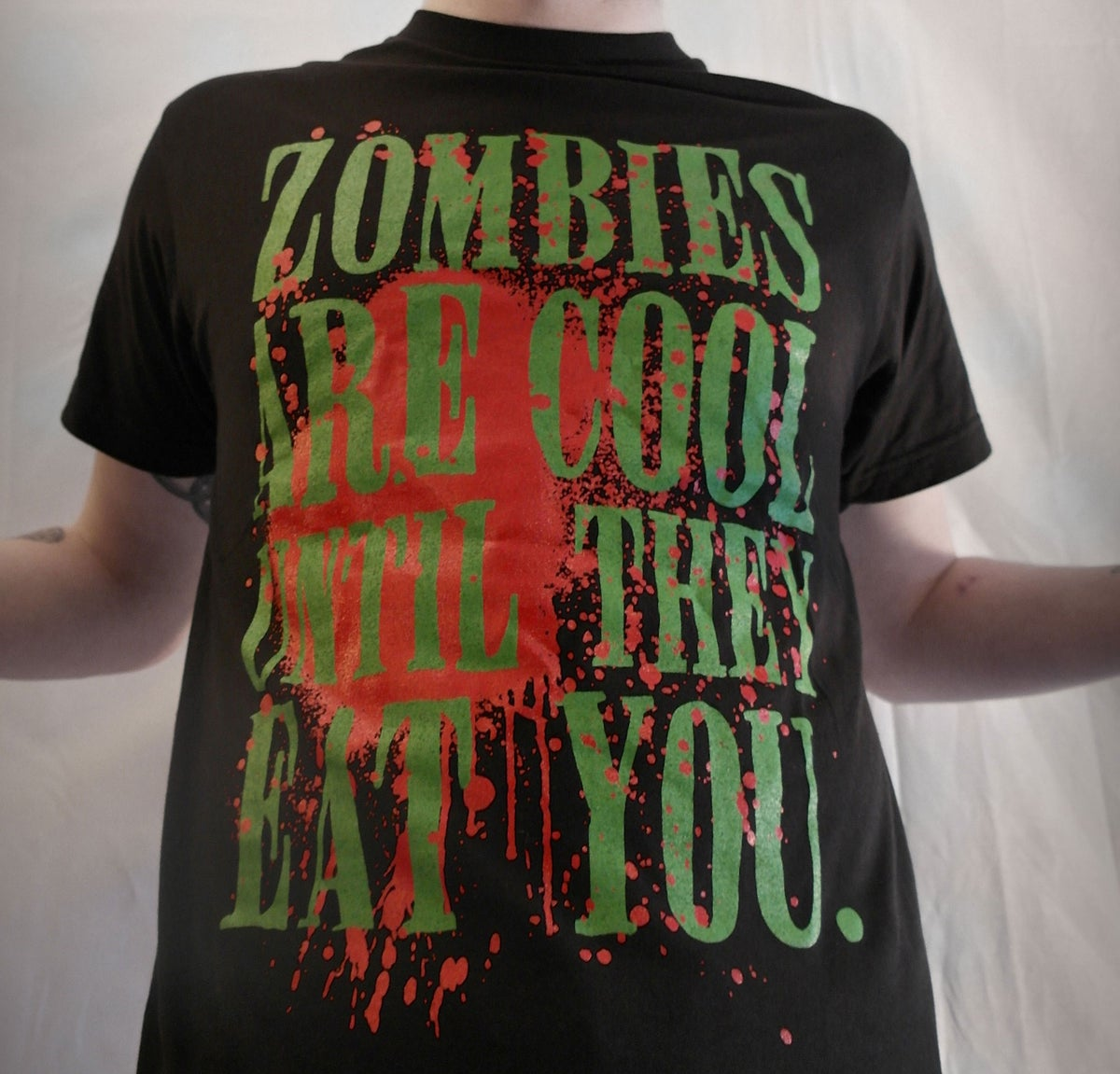 """Zombies Are Cool Until They Eat You""-Black Unisex Tee"