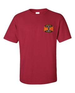 """Image of BURGUNDY """"WE'RE ALL IN THE STDY GANG"""" TEE"""