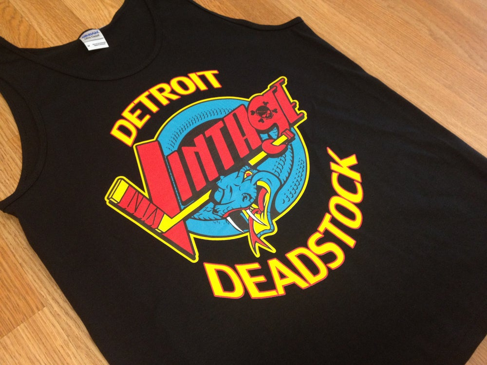 Image of Detroit Deadstock Vintage Vipers Logo Flip Black Yellow Tank Top Shirt