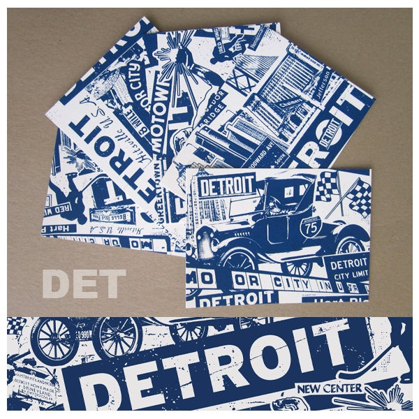 Image of 5 Pack Detroit City Postcard Set