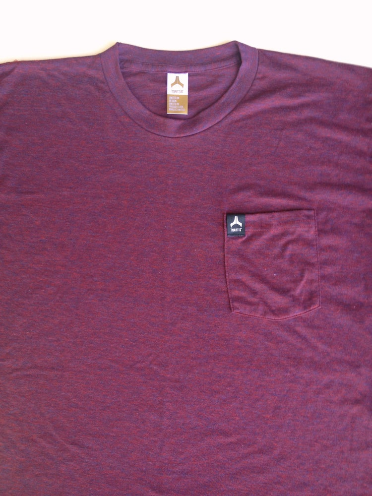 Image of Mantis signature pocket tee maroon