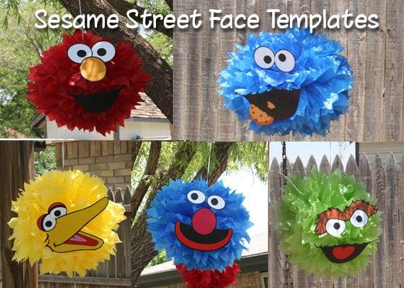 Image Of Five Sesame Street Pompom Face Template