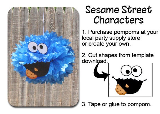 Image Of Cookie Monster Pompom Face Template