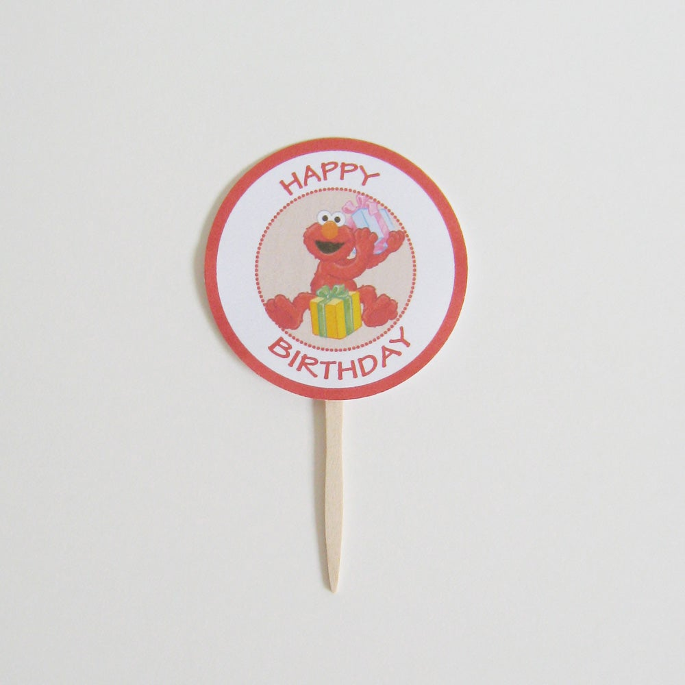 Image of Elmo Birthday Toppers - Set of 12